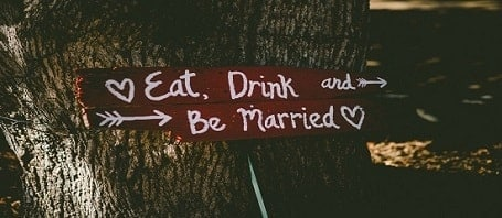 Image of a eat, drink and be married poster
